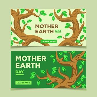 Paczka banner płaski projekt dzień ziemi matki