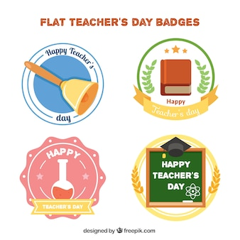 Paczka dzień nauczyciela w płaskiej konstrukcji