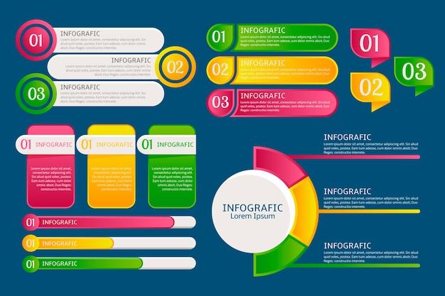 Paczka elementów gradientu infographic