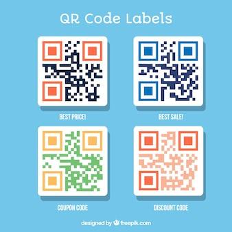 Paczka etykiet kodów cztery qr