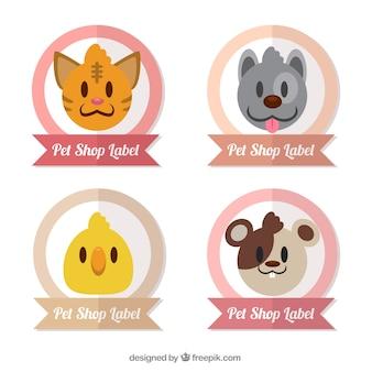 Paczka etykiet z cute zwierząt