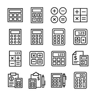 Paczka ikon linii kalkulatora