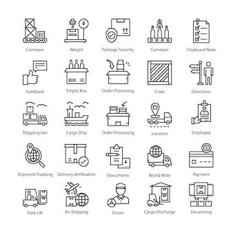 Paczka ikon wektorowych logistyki