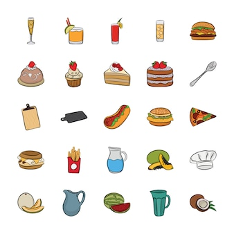 Paczka ikon żywności