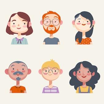 Paczka ilustracji awatarów osób