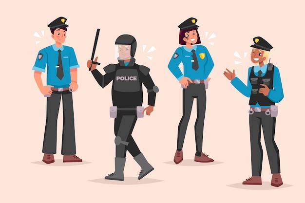 Paczka ilustracji policji