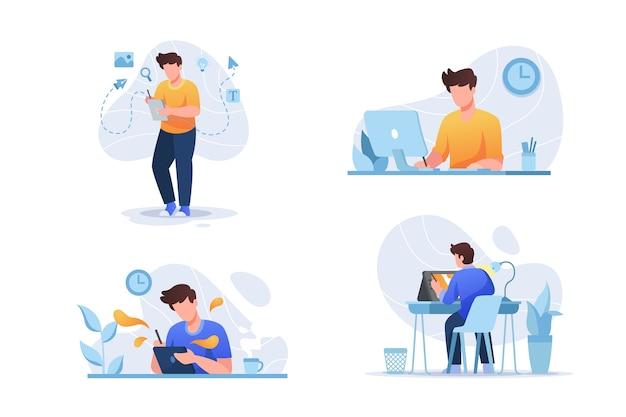 Paczka ilustracji projektantów