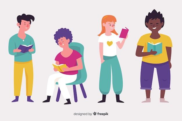 Paczka ilustrowanych ludzi studiujących