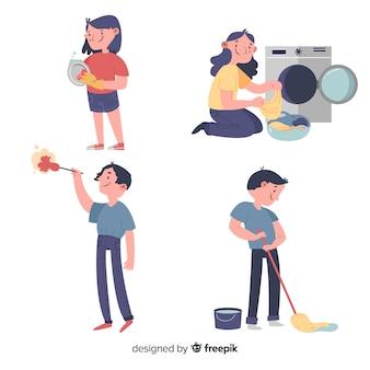 Paczka ilustrowanych osób wykonujących prace domowe
