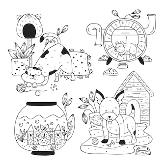Paczka ilustrowanych zwierząt