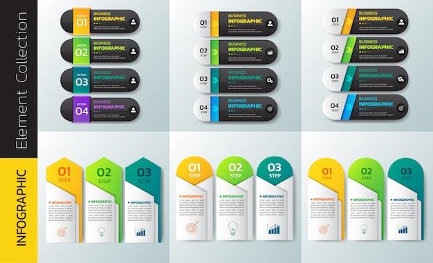 Paczka kolorowy szablon projektu infografiki.