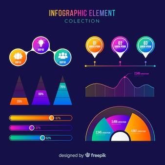 Paczka kolorowych elementów infographic
