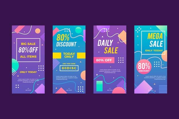 Paczka kolorowych historii sprzedaży na instagramie