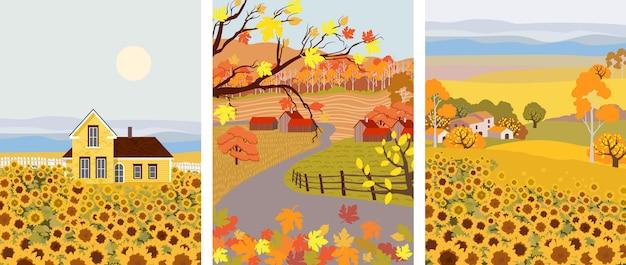 Paczka kreskówki płaskiej wioski ze słonecznikiem rosnącym z przodu