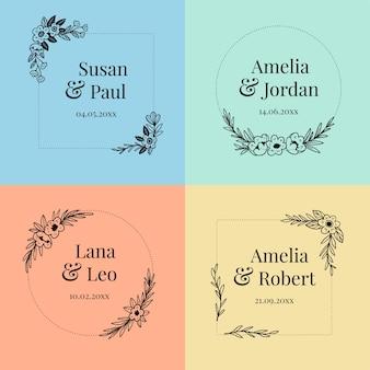 Paczka kwiatowych monogramów ślubnych