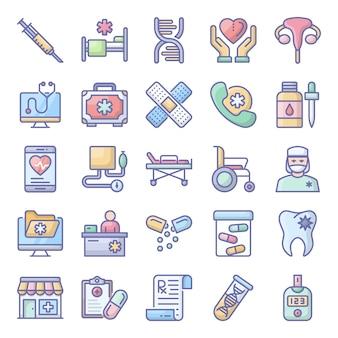 Paczka leków płaski zestaw ikon