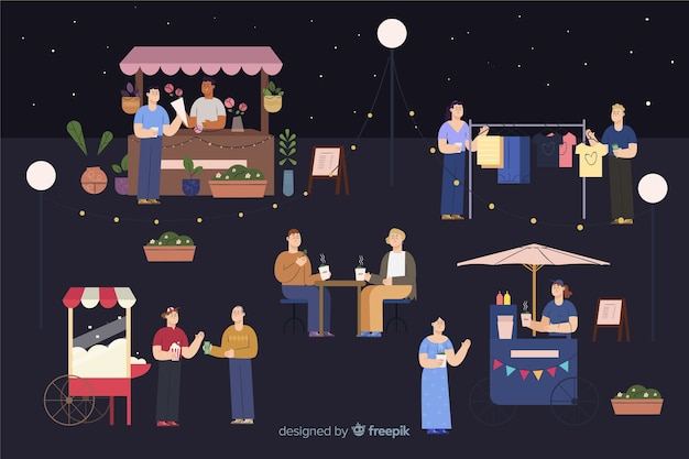 Paczka ludzi na targach nocnych