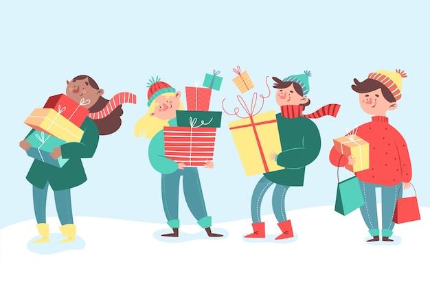 Paczka ludzi z prezentami