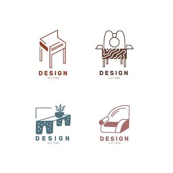 Paczka minimalistycznych logo mebli