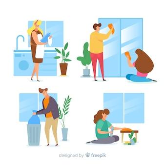 Paczka minimalistycznych postaci wykonujących prace domowe