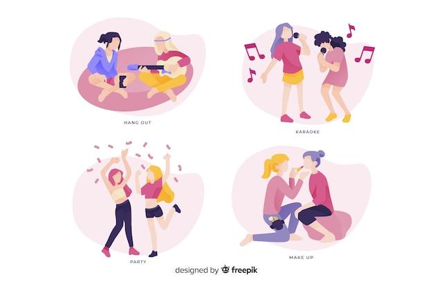 Paczka młodych kobiet spędzających czas razem