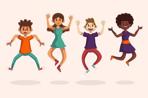 Paczka młodych ludzi skaczących