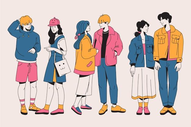 Paczka mody młodych koreańczyków