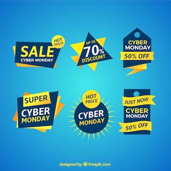Paczka naklejek sprzedaży w poniedziałek cyber