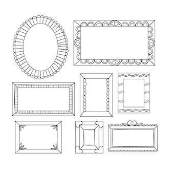 Paczka narysowanych eleganckich ozdobnych ramek