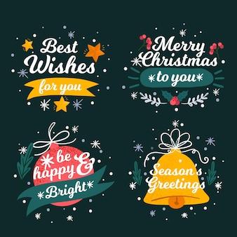 Paczka narysowanych etykiet świątecznych