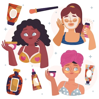 Paczka narysowanych kobiet wykonujących swoją rutynową pielęgnację skóry