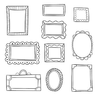 Paczka narysowanych ramek ozdobnych