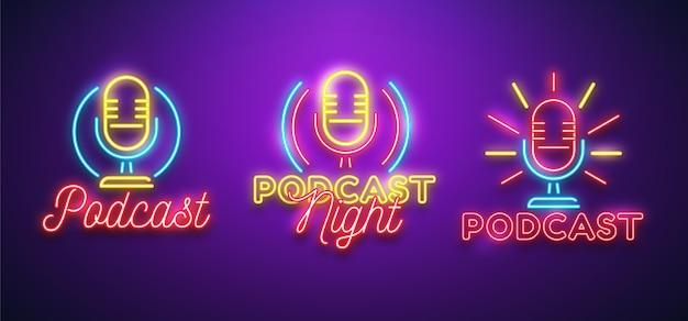 Paczka neonowych logo podcastów