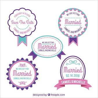 Paczka nowoczesnych odznak ślubnych