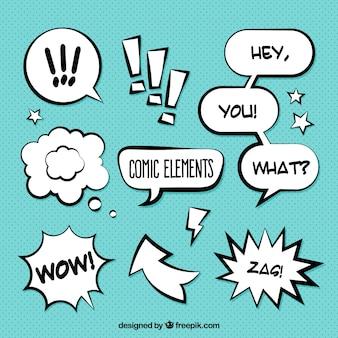 Paczka onomatopoeia i komiksowych dymków dialogowych