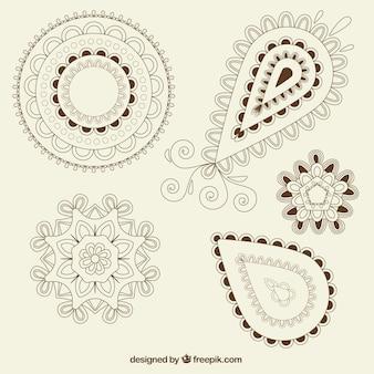 Paczka ozdobnych kształtów paisley