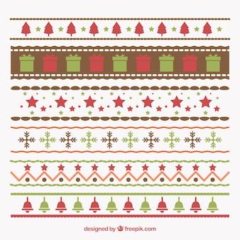 Paczka pięknych dekoracyjnych granic bożego narodzenia