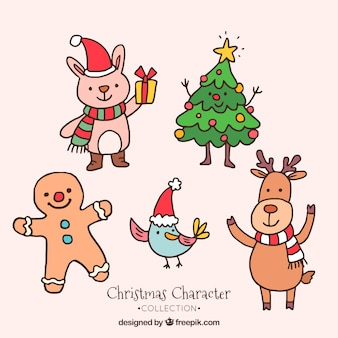 Paczka pięknych, ręcznie rysowane postacie świąteczne