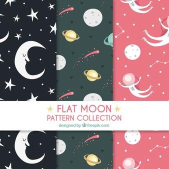Paczka pięknych wzorów księżyca i planet