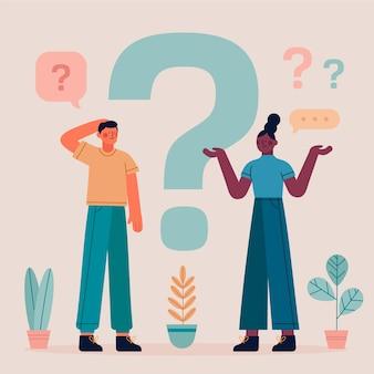 Paczka płaskich ludzi zadających pytania