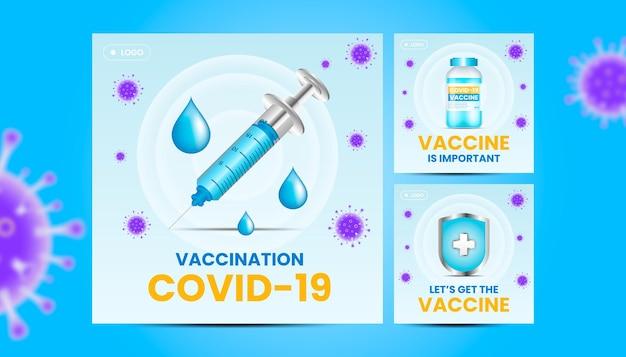 Paczka pocztowa na instagramie szczepionek z ilustracją 3d.