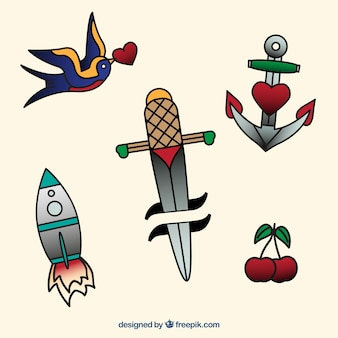 Paczka prostych ręcznie rysowane tatuażami