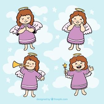 Paczka ręcznie rysowane bożonarodzeniowych aniołów