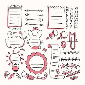Paczka ręcznie rysowane elementy dziennika punktorów
