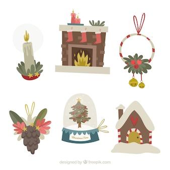 Paczka ręcznie rysowane elementy świąteczne