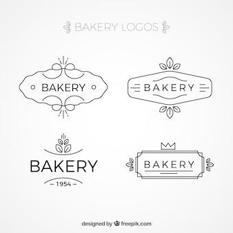Paczka ręcznie rysowane logotypów piekarniczych
