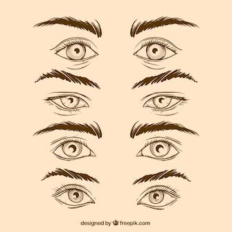 Paczka ręcznie rysowane oczu i brwi w realistycznym stylu