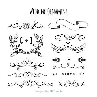 Paczka ręcznie rysowane ozdoby ślubne