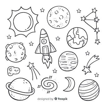 Paczka ręcznie rysowane planety w stylu bazgroły