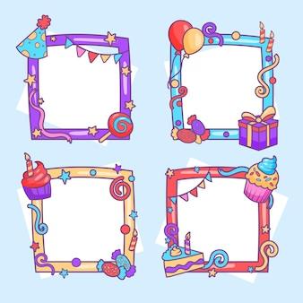 Paczka ręcznie rysowane ramki kolaż urodziny